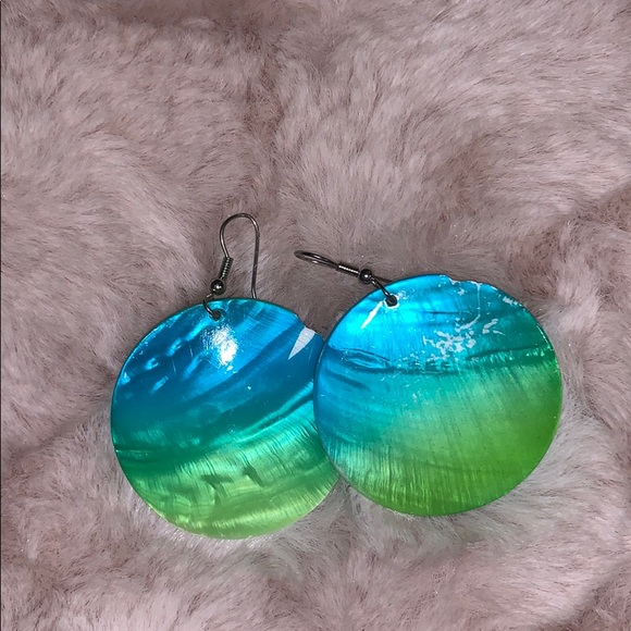 Charming Charlie Jewelry - Blue/green shell hanging earrings